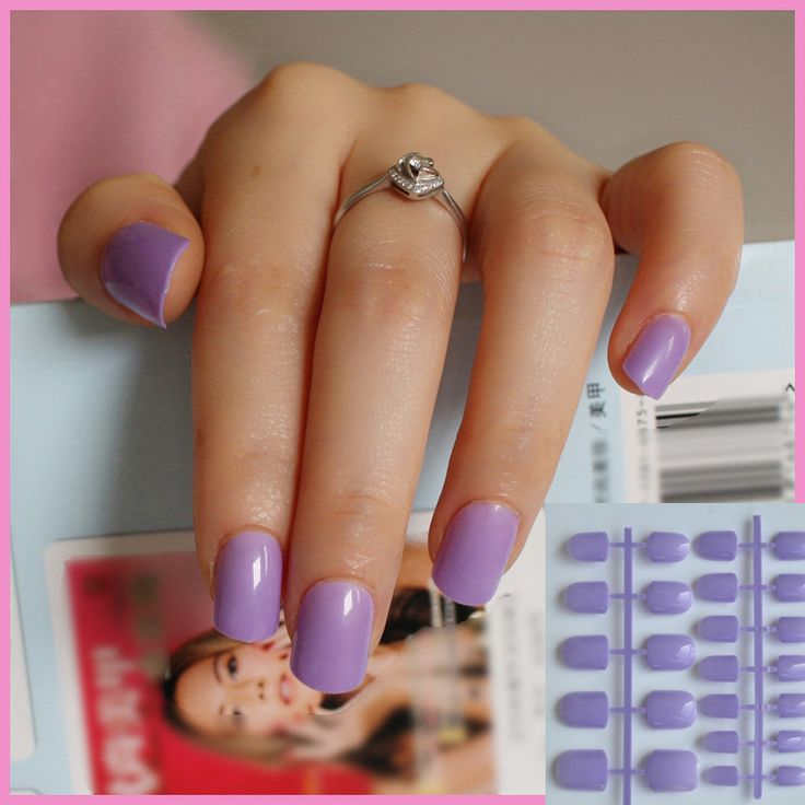 Shiny Face Light Charming Purple 24 Pcs Sweet Candy Short Artificial False Fake Nails Full Wrapped Tips P76