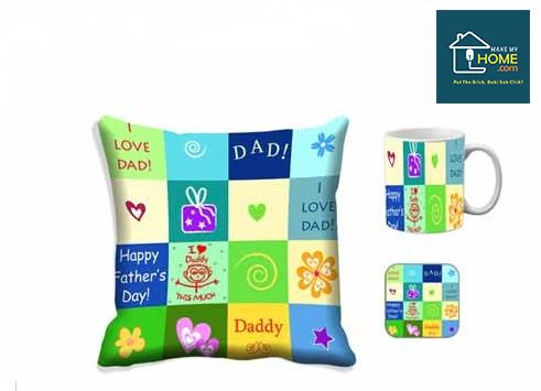 #Cushion Cover, #Mug and Coaster Combo for your Father on Father's Day.