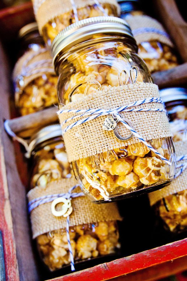 Don't know what to give out as favors? Pack up batches of your favorite homemade snack in Mason jars for a crowd-pleasing treat.