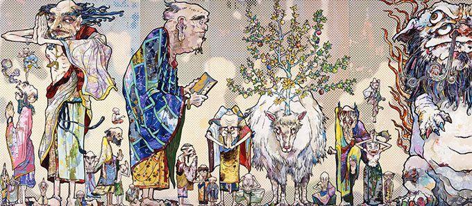 国内14年ぶりの個展「村上隆の五百羅漢図展」を森美術館で - 全長100メートルの大作絵画日本初公開 | ファッションプレス
