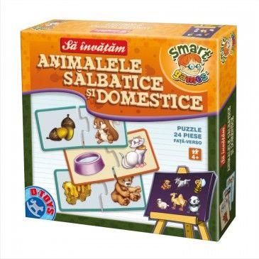 """Un joc puzzle distractiv și educativ, """"Animale Sălbatice și Domestice"""" care îi ajută pe cei mici să învețe într-un mod intuitiv animalele. #boardgame #jocurieducative #jucariionline #educational"""