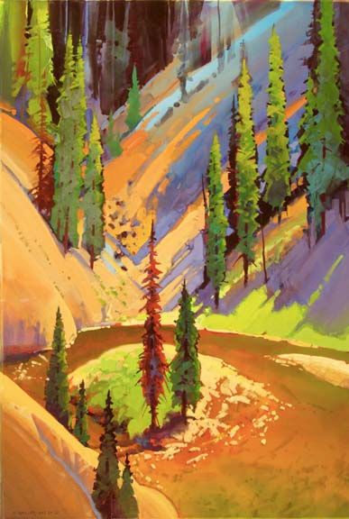 "Headwaters by Stephen Quiller, 34.5"" X 23"", acrylic & casein painting."
