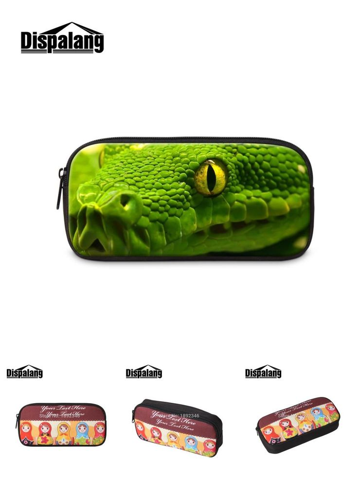 [Visit to Buy] Cute Snake Printing Cosmetic Case Animal Pencil Case for Girls Leopard eyes Pen Bag for Women Boy Zippered Pencil Bag for Office #Advertisement