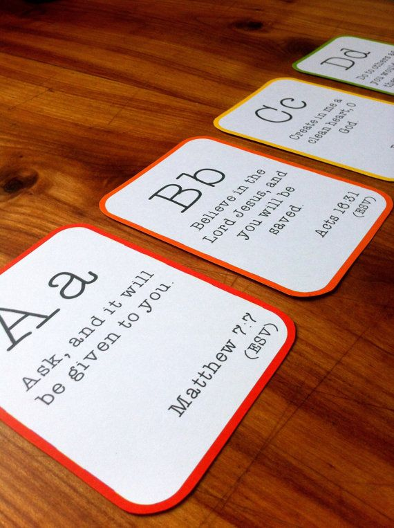 Alphabet Bible Verse Flashcard Set  Printable PDF by houseofwimm, €5.00