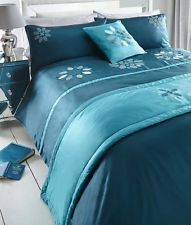 Lucinda bed in a bag double size teal duvet cover pillowcases runner cushion