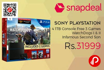 Snapdeal #top #picksoftheday brings NO COST EMI on Sony #Playstation 4 1TB Console with 3 Free Games WatchDogs I & WatchDogs II Infamous Second Son at Rs.31999. Main Unit, DualShock 4 Controller, Mono Headset, HDMI Cable, Power Cable, DualShock 4 Charger Cable (USB to Micro USB), Quick Guide. Free Games, WatchDogs I, WatchDogs II & Infamous Second Son.  http://www.paisebachaoindia.com/sony-playstation-4-1tb-console-with-3-games-watchdogs-i-ii-infamous-second-son-at-rs-31999-snapdeal/