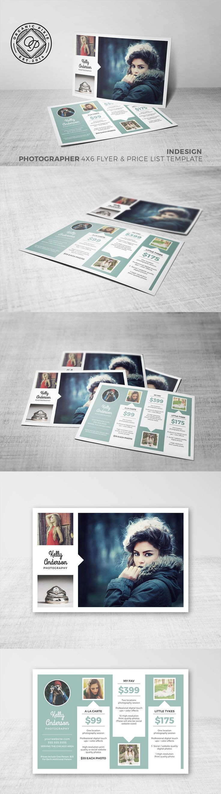 This is an easy to use photography postcard design or flyer template in InDesign. Included are all the photos that are FREE to use downloaded from pixabay.com with no restriction. It is easy to change the color palette and the fo