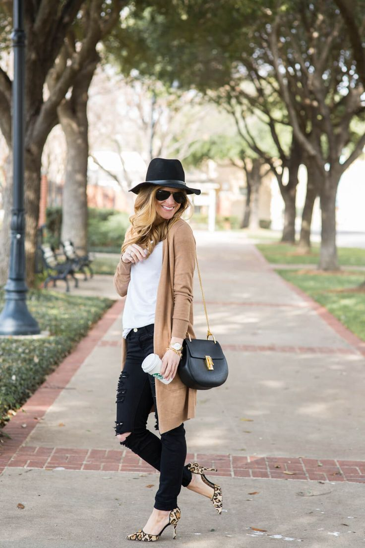 long camel cardigan, white tee, black ripped jeans, aviators, black chloe drew bag, black floppy hat, leopard heels, dressy black jeans outfit, transitional fall outfit, dressing up a white t-shirt, fall neutral outfit