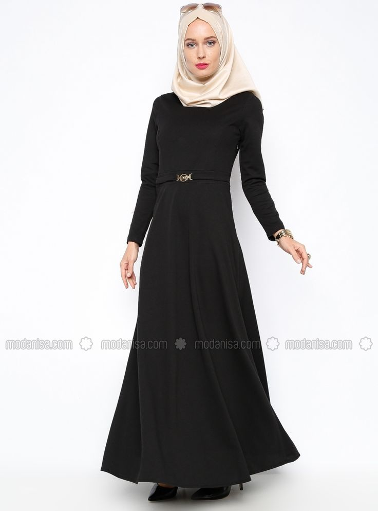 Kemer Süslü Elbise - Siyah - Topless