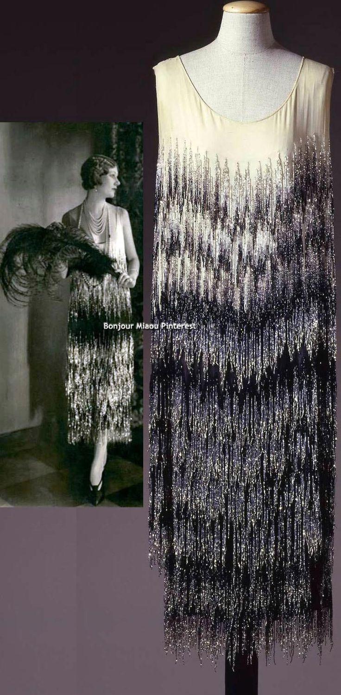 Evening dress, Chanel, 1924. Black & ivory chiffon with glass straw fringe. Color photo: Gabinetto fotografico SBAS, Mario Carrieri. Galleria del Costume di Palazzo Pitti via Europeana Fashion