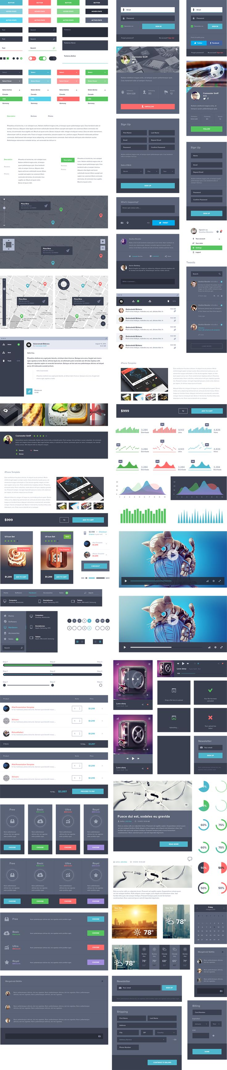 UI KIT Dark http://ui8.net/ui-kit-dark  An impressive assortment of dark styled UI elements created to make your design process easier. Even bigger and more refined than our previous UI Kit, these great out of the box options will allow your work to shine in no time! Delivered as a well-organized PSD