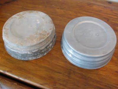 Before / After: How To Clean Zinc Lids from Ball Jars (Aug.12, 2012) Wash, then soak in white vinegar, then wipe down with a little mineral oil on a cloth.