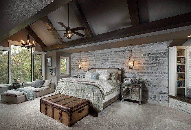 lovely gray accent wall bedroom | beautiful farmhouse bedroom with gray shiplap accent wall ...