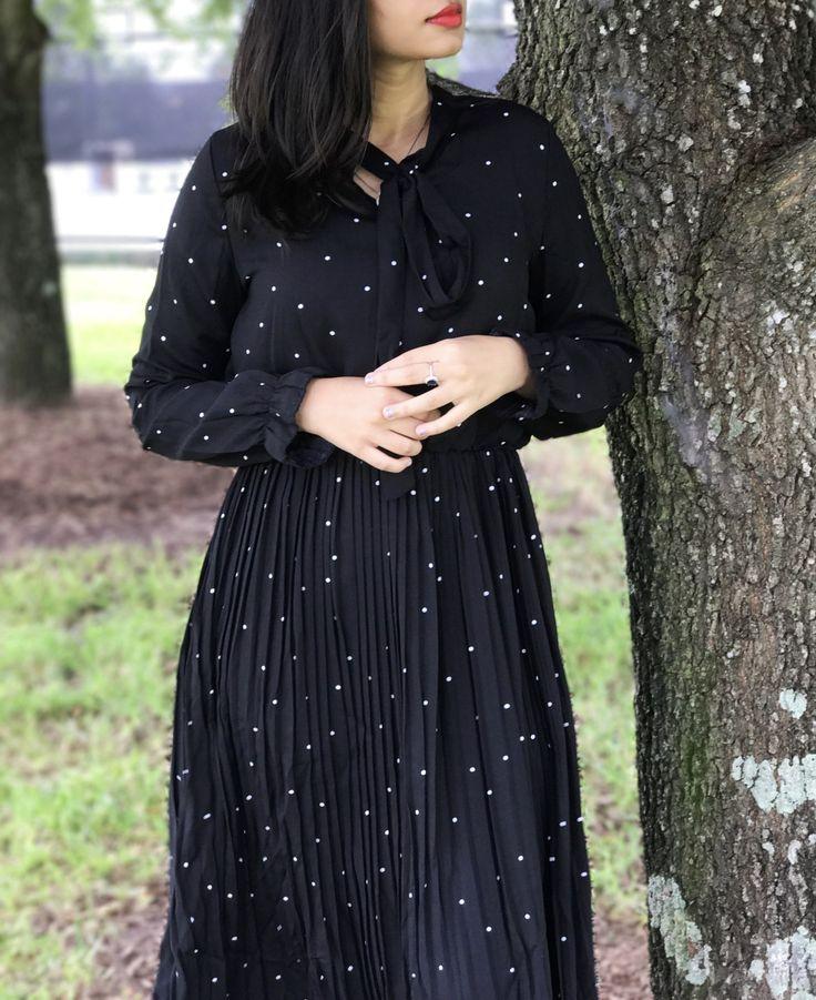 Rosegal polka dot pleated dress
