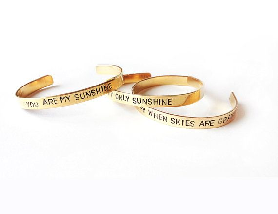Set stacking cuff bracelets You are my sunshine by WyomingCreative, $64.00