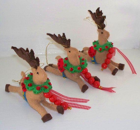 Christmas Felt Ornament Santas Reindeer Holiday by WhisperingOak