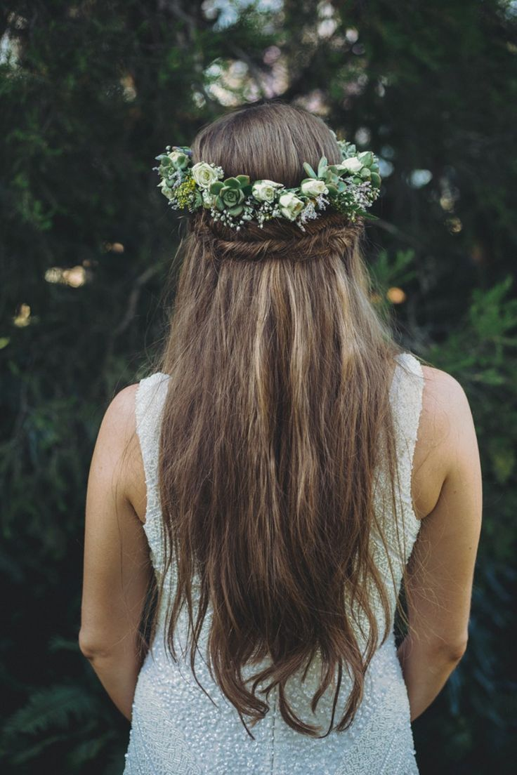 Fishtail Braid With Succulent Flower Crown Adorn