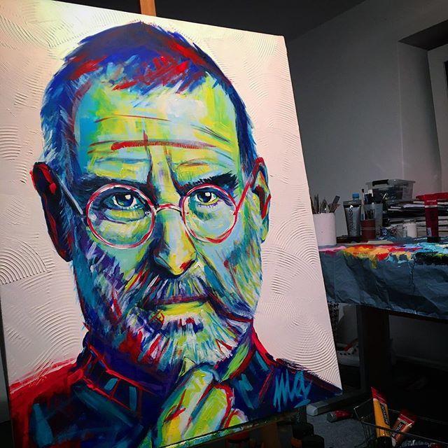 Steve Jobs / akryl 100x80 #stevejobs #art #exhibition #work #passion #acrylicpainting #ulakaminska #clarise