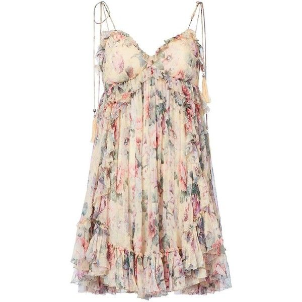 Zimmermann Women's Jasper Ruffle Floral Mini Dress (£465) ❤ liked on Polyvore featuring dresses, vestidos, floral, pink mini dress, floral dresses, pink spaghetti strap dress, silk dress and empire waist dress