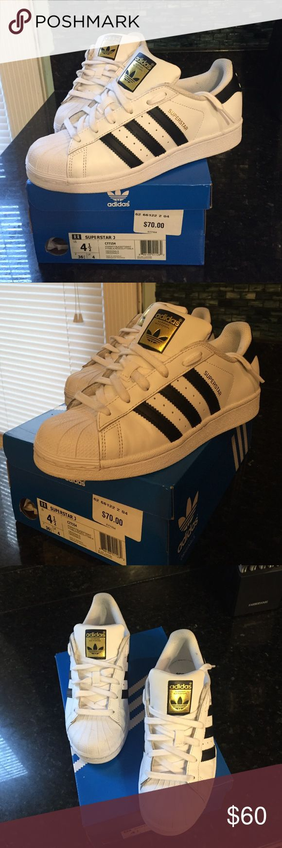 Adidas Superstar Shelltoes - White - Brand new only worn twice, too big on me and can not return. Size 4.5 in juniors fits a 6.5 women's size. I am usually a 6 or 6.5 and these are (unfortunately) a half a size too big on me. Adidas Shoes Sneakers