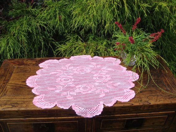 Oval Filet Crochet Table Centerpiece  Table by MyBlueHummingbird
