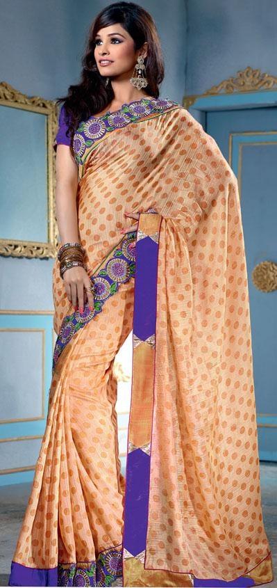 $55.72 Orange Art Silk Saree 20358 With Unstitched Blouse