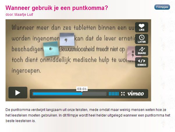 Media bewust onderwijs, de mogelijkheden zijn eindeloos! Zit je even vast met de Nederlandse taal, dan is er de site van 'De Nederlandse Taal' waarin met heldere video's bijvoorbeeld het gebruik van leestekens wordt uitgelegd! #Helder #MediaWijs