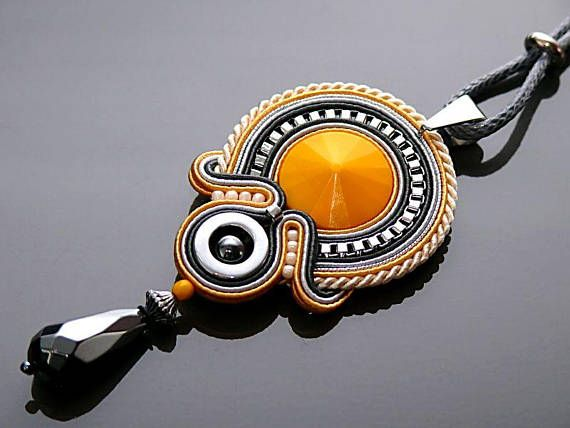 Yellow gray graphite Soutache necklace with Hematite.