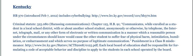 Cyber bullying laws Kentucky