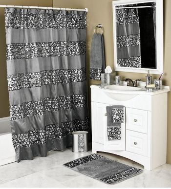 Sinatra Silver Bling Shower Curtain features bands of brilliant sequins on a silver metallic fabric!   Coordinating accessories complete the look for much less than you would think!