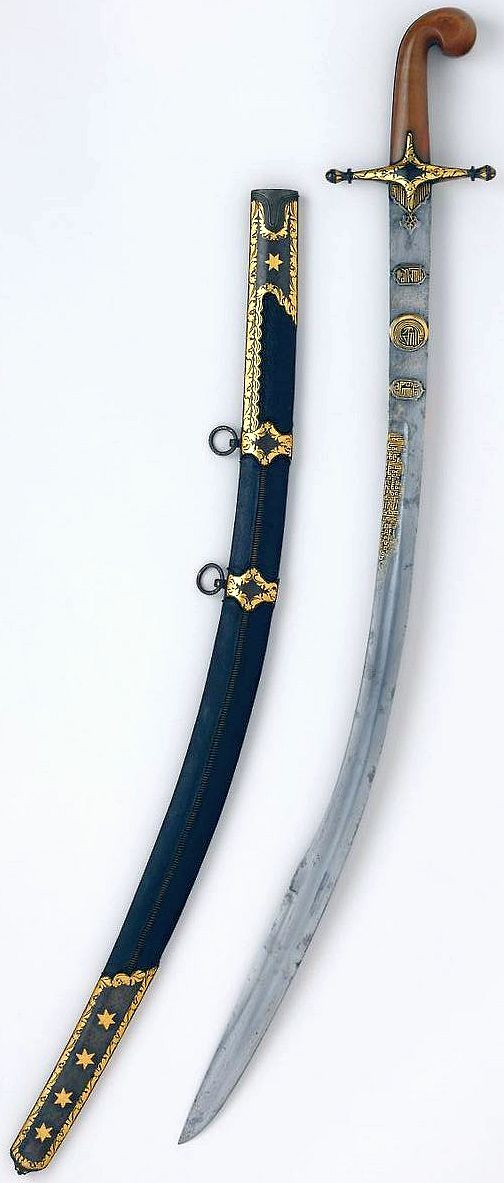Ottoman kilij, blade:A.H. 957/ A.D. 1550–1551; mountings:18th century, steel, horn, wood, leather, gold, 37 in. (94 cm), bequest of George C. Stone, 1935, Met Museum.