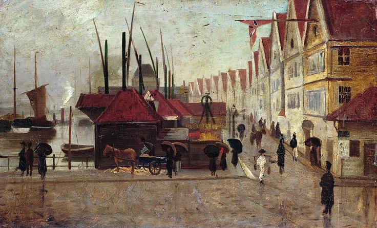 Frederik Collett (1839-1914): The Quay in Bergen, 1875