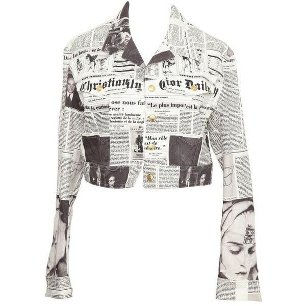 Preowned Christian Dior By John Galliano Newspaper Denim Jacket (€2.140) ❤ liked on Polyvore featuring outerwear, jackets, grey, white jean jacket, jean jacket, christian dior, denim jacket and short-sleeve jackets