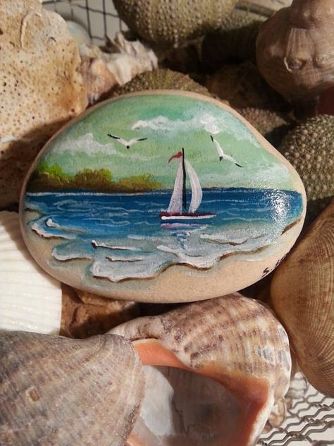 beach stone painting seascape painting stone painted rock art sailboat stone sea landscape painted rock stone painting collection