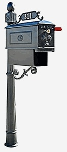 Residential Mailbox System with Fleur de Lis Mailbox
