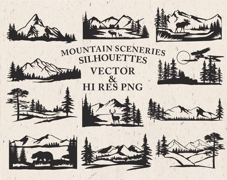 Excited to share the latest addition to my #etsy shop: Mountain Scenery SVG Cut Files - Mountain Scenery Silhouette SVG Cut Files Mountain svg dxf eps png - Silhouette Cricut Transfer & other http://etsy.me/2CmBUrR #supplies #kidscrafts #vector #png #silhouette #clipar