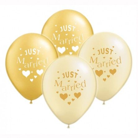 """Hochzeitsballons """"Just Married"""" (10 Stück)  - gold * ivory"""