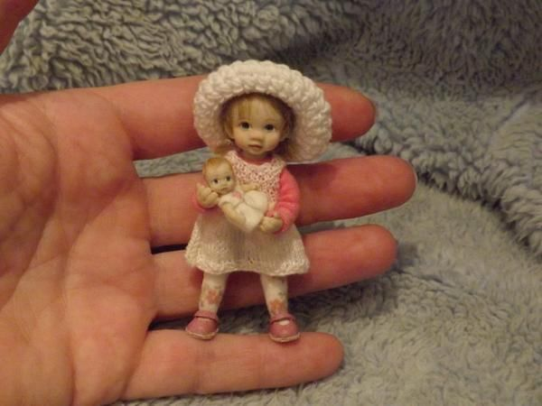 Miniature Handmade Mini Girl Toddler Child Ooak Dollhouse