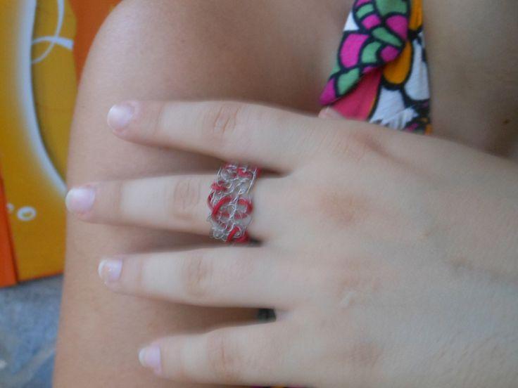 silver crochet ring(red)-one size δαχτυλίδι βελονάκι ασήμι 925 (κόκκινο)
