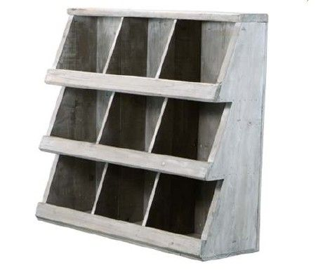White Washed Wood Cubby Shelves