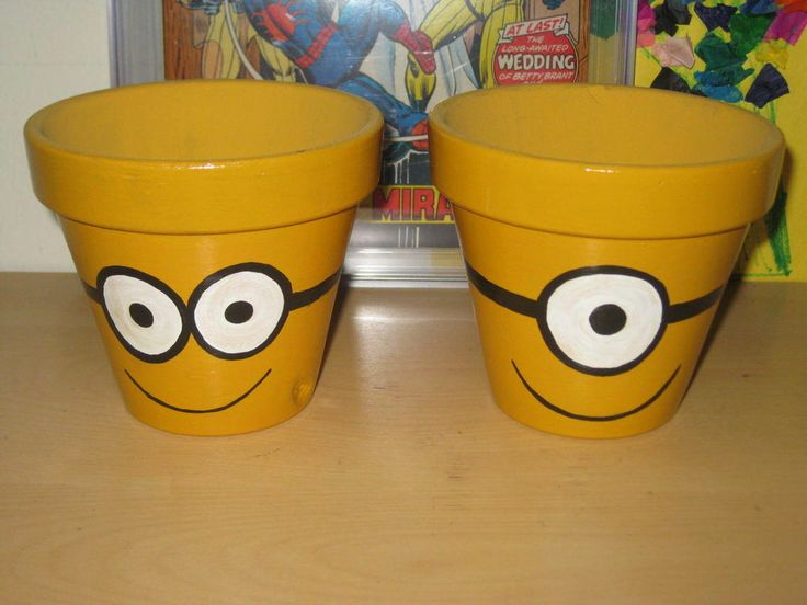Hand painted Minion's Kevin and Carl garden pot set! Dreamworks