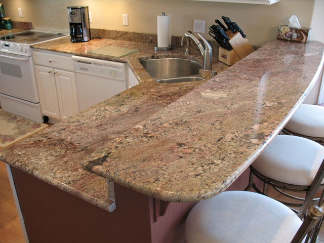 Crema Bordeaux Granite Kitchen.