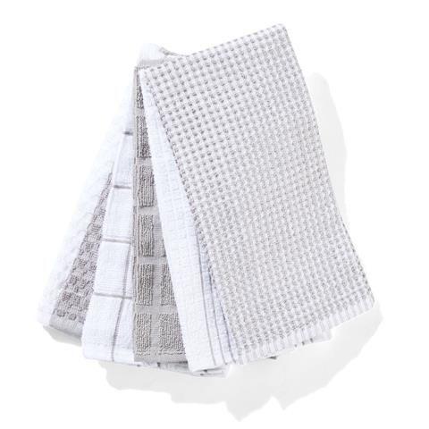 Terry Tea Towels - Grey, Pack of 5