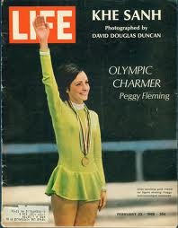 Peggy Fleming in Iconic Chartreuse Ice Skating Outfit worn during her Olympic Gold Medal Performance in Grenoble, France (1968).  Peggy's mother chose this chartreuse color, as she was convinced that this would charm the French people.
