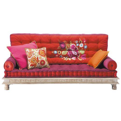 2-/3-sitzige Polsterbank aus Baumwolle im indischen Stil, mehrfarbig