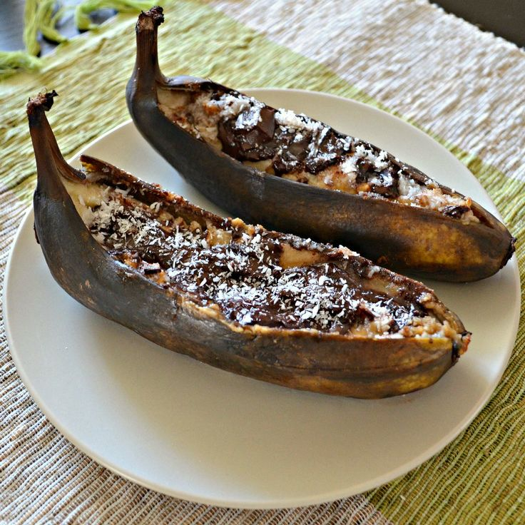 Roasted Bananas filled with dark chocolate, coconut and almond butter.