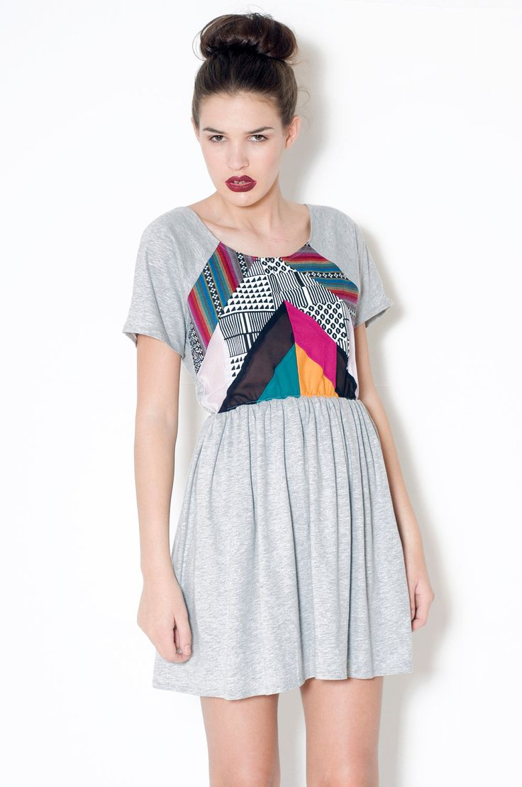 Grey Dress jersey cotton patchwork chevron by LoelaLoela