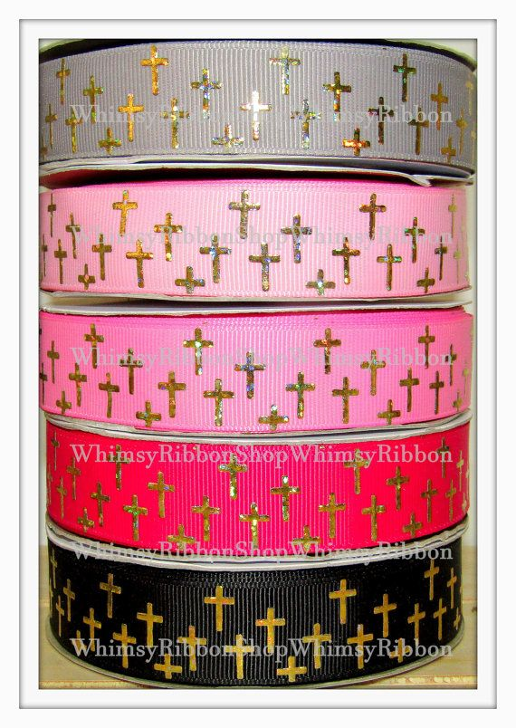 New 1 2 3 45 Yards 7/8 Jesus Religious Gold  by WhimsyRibbonShop