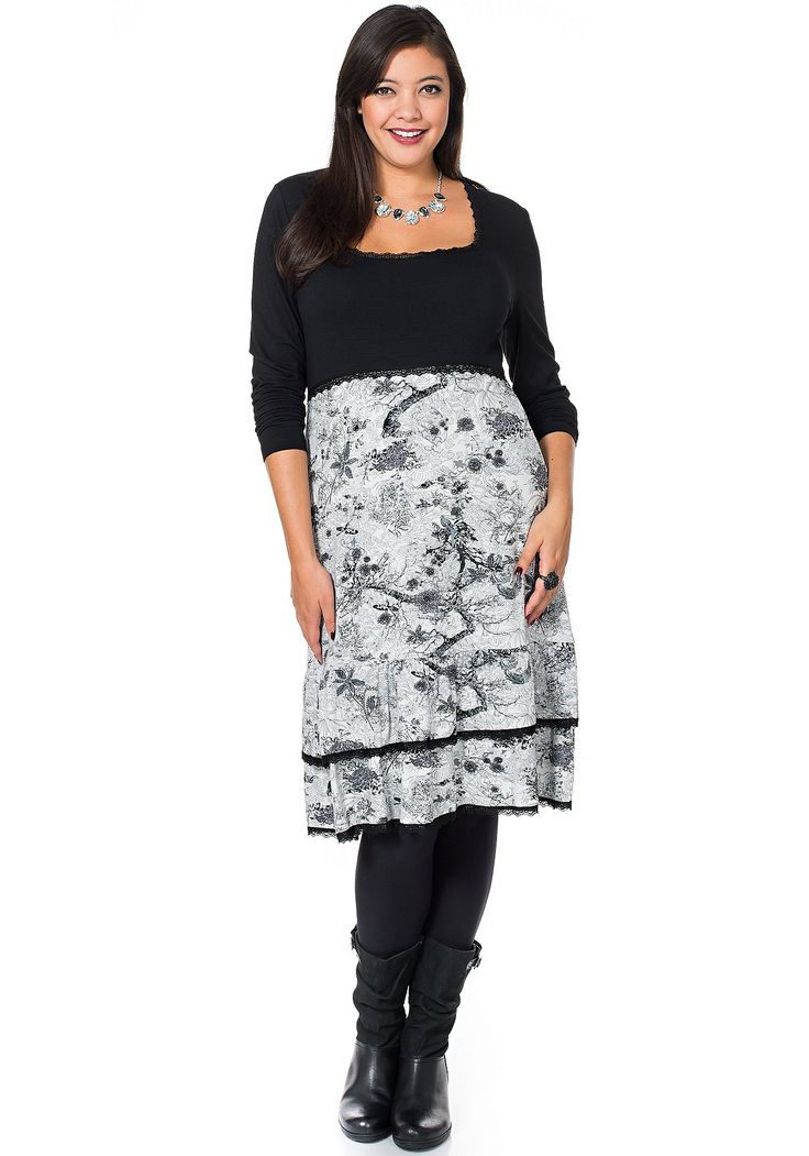 sheego Style Jerseykleid mit floralem Print - grau-schwarz | Damenmode online kaufen