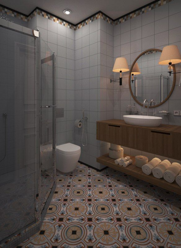 a blue bathroom vives vodevil tiles